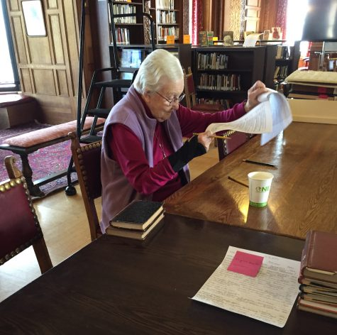 Sister Mary Mardel, RSCJ reviews the Archives in the Mother Williams Library. The Archives contain information dating back to 1887.