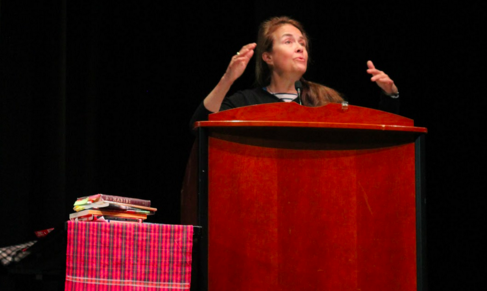 "Award winning poet and author Naomi Shihab Nye expresses the impact writing holds on her life. During the assembly, she read select pieces from ""Braided Creek,"" her poem ""Shoulders"" and her prose piece, ""Museum."""