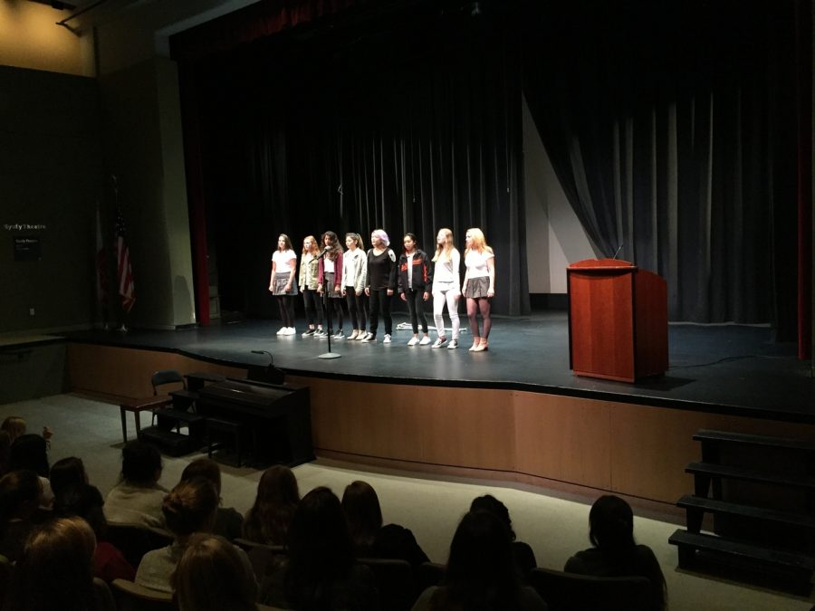Choir performs a cappella set at assembly