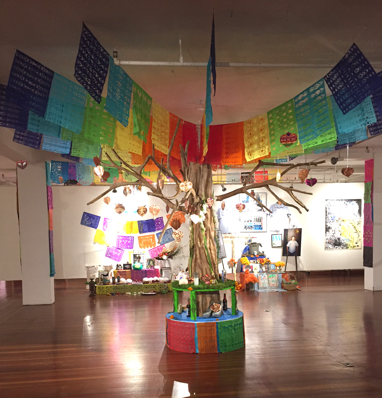 An altar for the victims of the Orlando Shooting is on display at the Mission Cultural Center for Latino Arts. The altar was created in house.