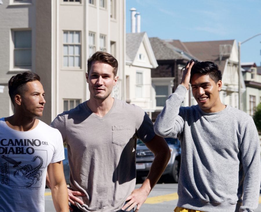 Three Asics models pose for the camera on the corner of Vallejo street. The crew shot all morning and wrapped up just after lunch.