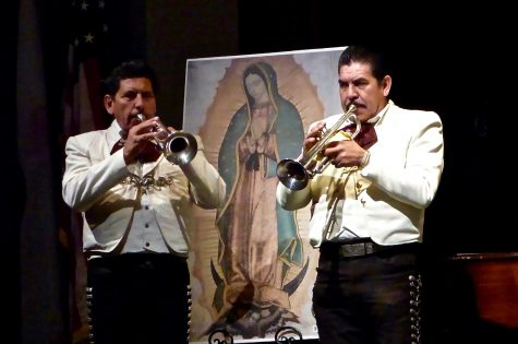 Mariachi musicians perform for the student body in Syufy Theater. The music was part of a larger celebration of the Feast of Our Lady of Guadalupe.