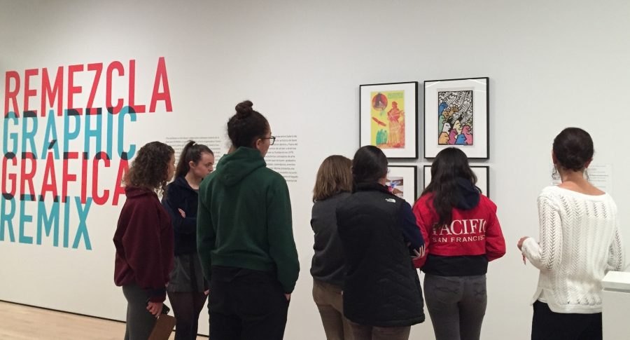 Students+from+Art+Foundations+II%2C+Spanish+4+Honors%2C+and+a+senior+theology+class+visit+the+SF+MOMA+to+see+the+%E2%80%9CRemezcla+Graphic%E2%80%9D+exhibit.+The+works+of+art+were+from+Galeria+de+la+Raza+in+San+Francisco+and+focused+on+identity%2C+culture%2C+society%2C+and+politics%2C+which+the+students+were+studying.