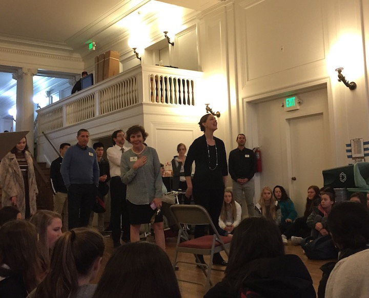 President Ann Marie Krejcarek and Head of School Rachel Simpson speak to the student body about yesterdays water damage. Simpson called the incident preventable and a learning opportunity, but emphasized that pointing fingers will not help the situation at all.