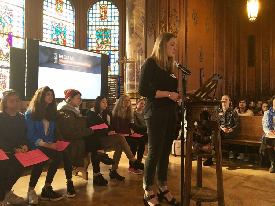 Convent Alumna Libby Brittain '07 presents the 2017 all-school Kate Chopin essay contest winner. Sophomore Sydney Caba won with her piece about self-identity in today's America.