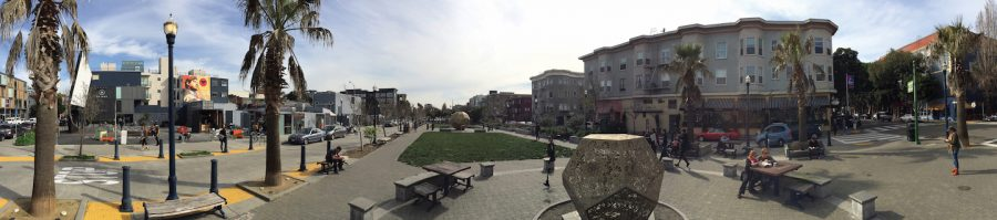 Patricia's Green, a large park with a playground and rotating art installations, is at the heart of Hayes Valley. Two light sculptures are the current featured piece in the pack and will be installed until November.