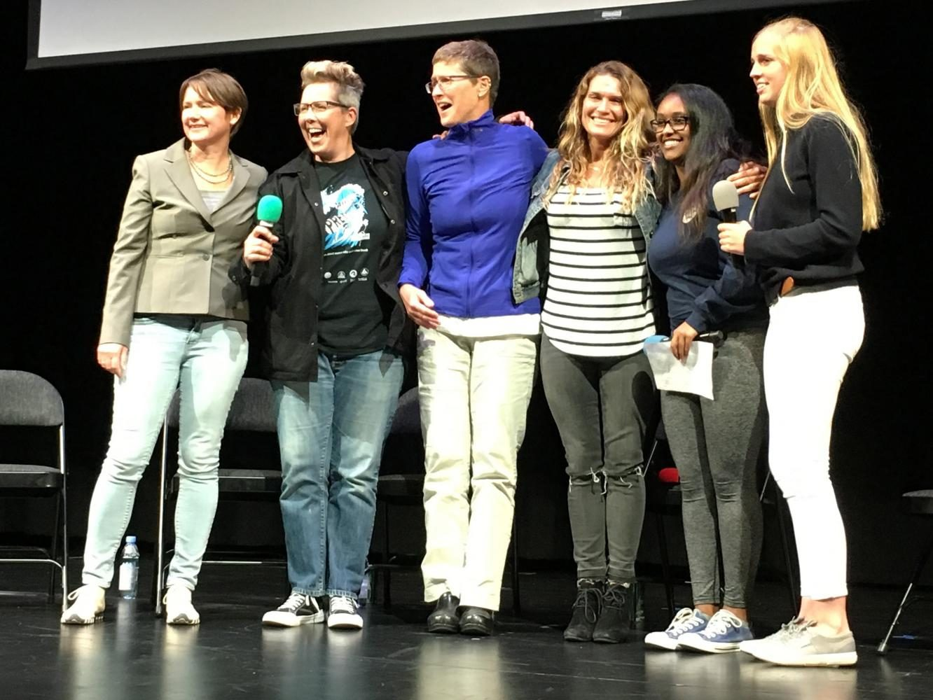 Director of It Aint Pretty Dayla Soul (second from left) poses with the cast of the film, Surf Club head Jemima Scott and Edna Tesfaye after a Q & A session with the cast. The panel followed a screening of the film and a musical performance by sophomore Sophie Egan.