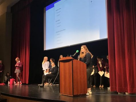 Junior Grace Ainslie gives her candidacy speech for spirit officer. Candidates listed reasons they felt they are qualified for student council as well as their plans for next year.