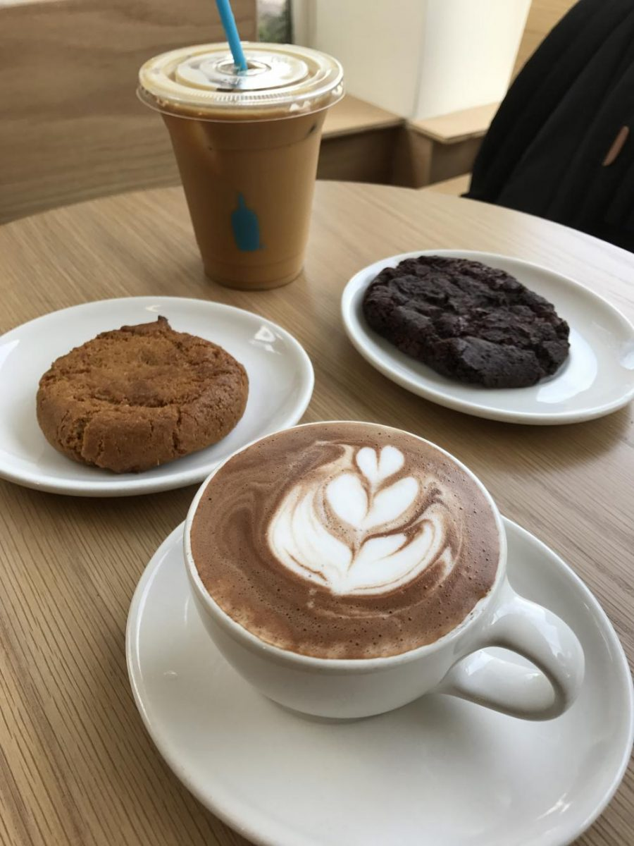 Blue Bottle Coffee Company offers treats such as a saffron snickerdoodle and double chocolate chip cookie. The coffee chain opened on the corner of Fillmore and Jackson streets in June.