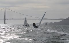 Convent & Stuart Hall boat sails in front of the Golden Gate Bridge during practice last season. The team practices at the St. Francis Yacht Club on the bay.