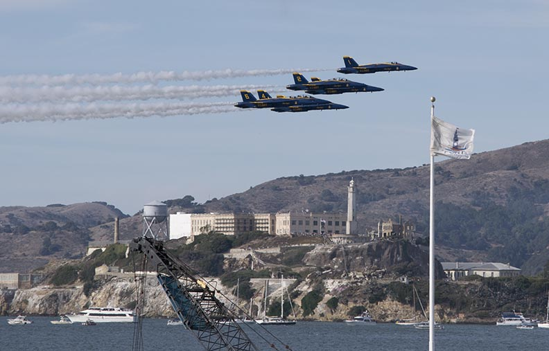 Blue Angels jets fly over San Francisco Bay in front of Alcatraz Island during last years Fleet Week. Planes fly over the City, Marin County and the East Bay during the Crissy Field airshow, often rattling windows, setting off car alarms and causing dogs to bark during practices and the airshow.
