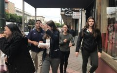 Some students wear jackets in anticipation of rain as they walk on Union street. The class went to La Canasta Taqueria during their Spanish period.