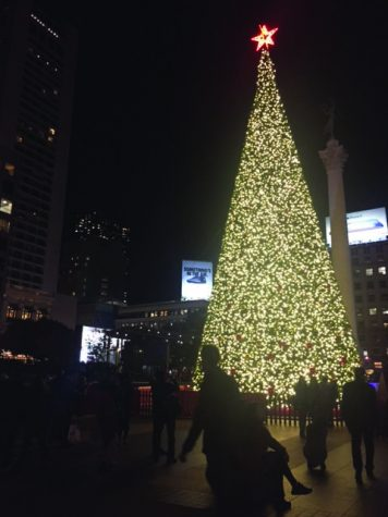 The Union Square Christmas tree, sponsored by Macy's, is decorated with over 700 ornaments and 43,000 LED lights. The official tree lighting took place on Nov. 24, and the tree will remain up into the new year.