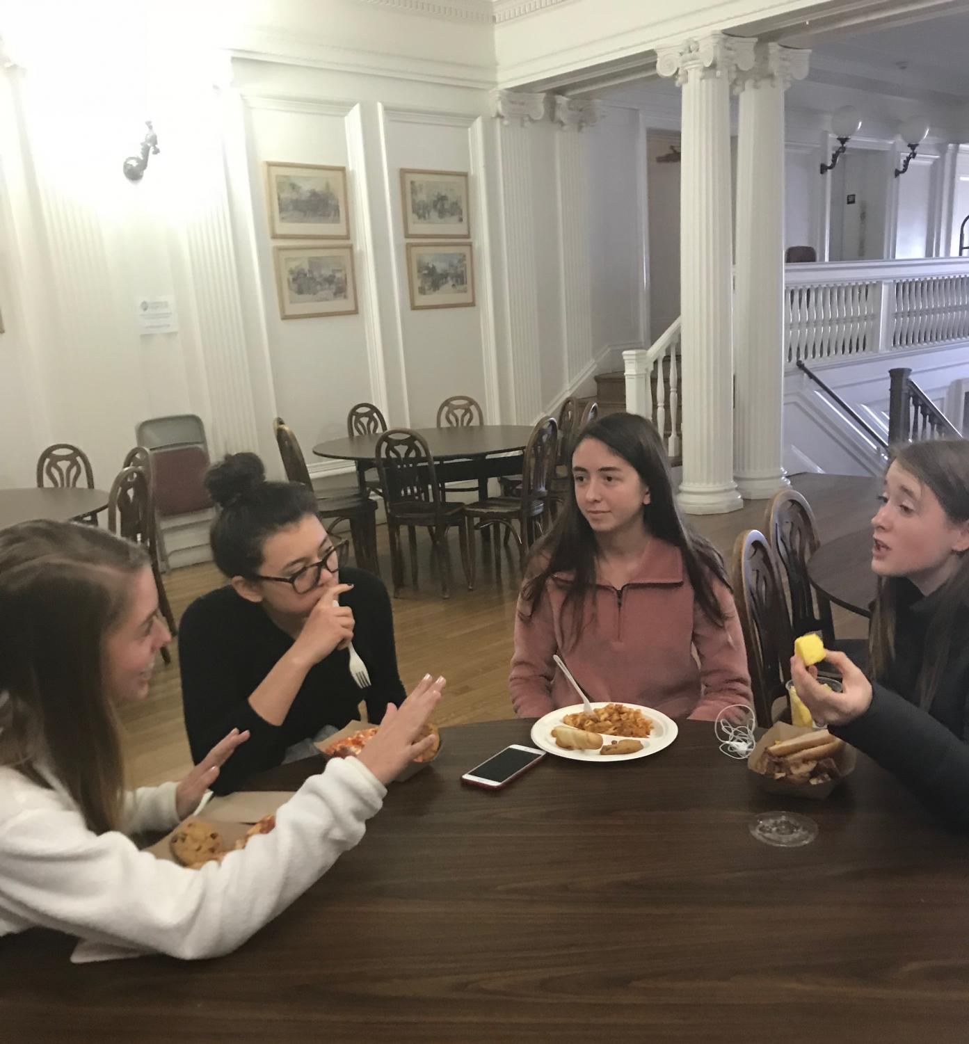 The debate club consists of freshmen and sophomores and meets during lunch every other Tuesday. The club began this year and already consists of over twenty students.