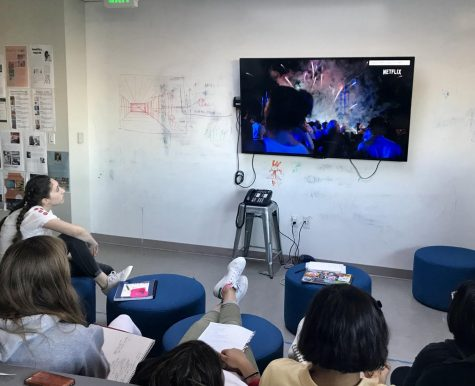 Students watch a Netflix documentary trailer about a Chinese artist using fireworks to create  his pieces. The class will have a final project where they must use the inspiration and style from three different artist during the age of contemporary and modern art.
