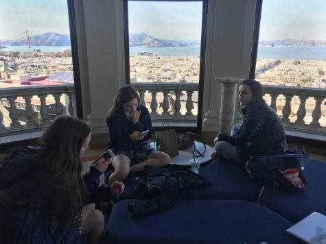 Juniors Madeline Kling, Grace Raymond and Eva Fenasci, who attend Academy of the Sacred Heart in New Orleans, relax in Belvedere after school. the girls arrived on Saturday.