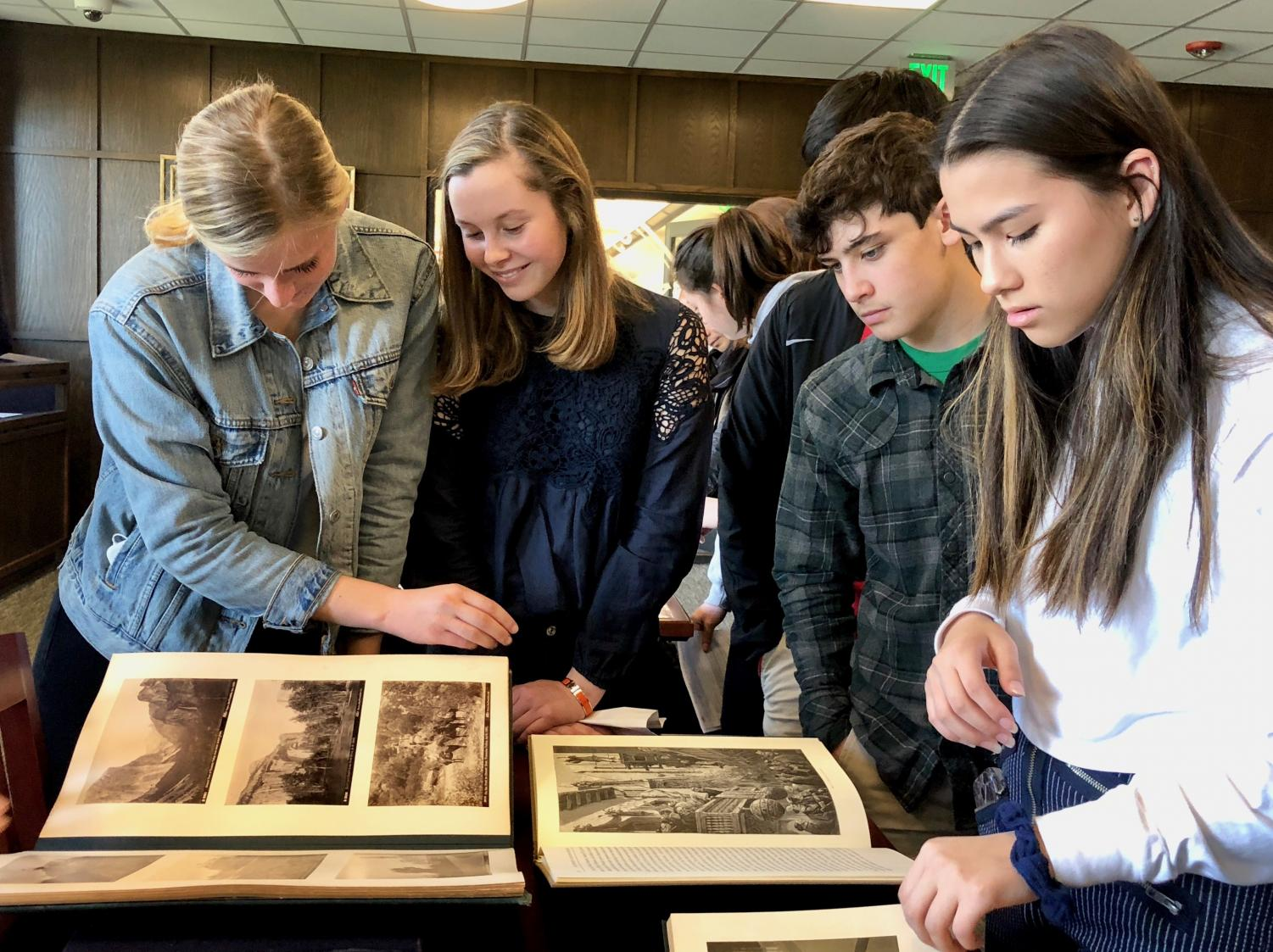 IB juniors visit University of San Francisco's rare book collection in the Gleeson Library. The collection houses items dating back to 15th century.