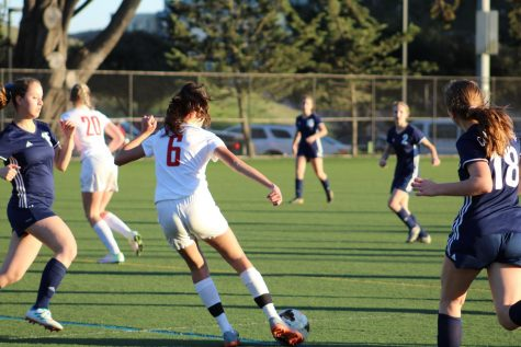 Sophomore Isabelle Thiara dribbles the ball through players from The College Preparatory School during a scrimmage on Feb. 13. The Cubs fell to the Cougars, losing their first scrimmage of the season.