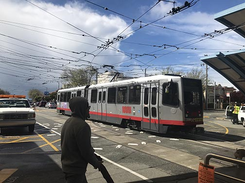 A current model Muni train leaves from the West Portal station. Muni began transitioning out the older trains at the end of 2017, and will fully replace all the trains within 10 years.