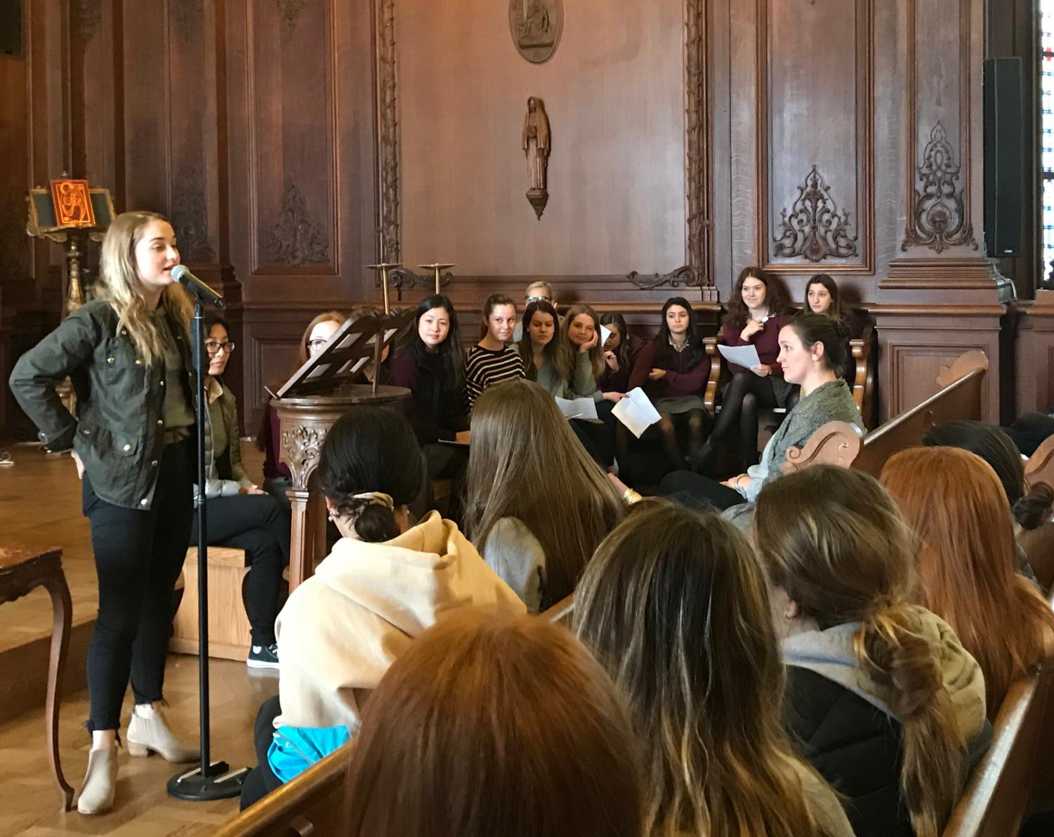 Junior Caroline Schulberg gives her speech to the students and teachers in the Chapel during elections today. Candidates ran for President, Vice President, Financial Officer and Operations Officer.