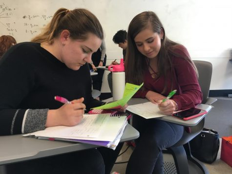 Seniors Francesca Petruzzelli and Annabelle Leung work on math during their first day back from Spring break. The last day of classes for seniors is May 18 with graduation following the next week on May 25.