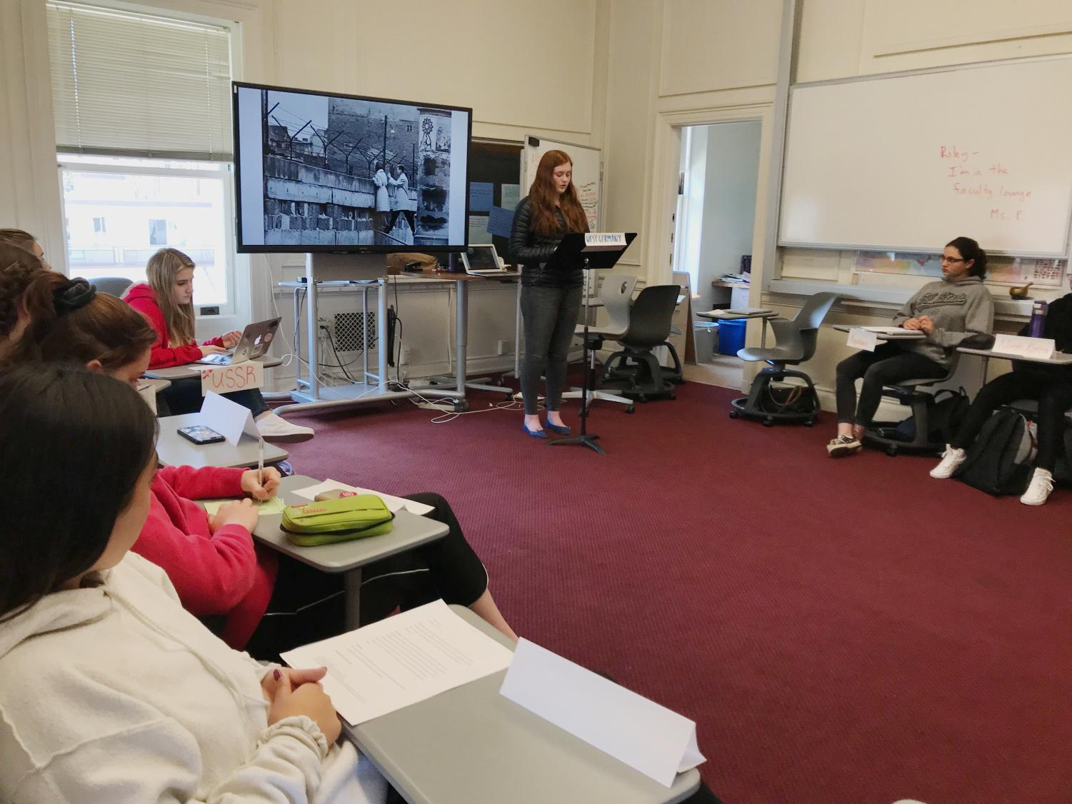 Sophomore Lauren Tulley represented West Germany in the mock UN conference. Students were required to add a picture to their speech to supplement their performance.