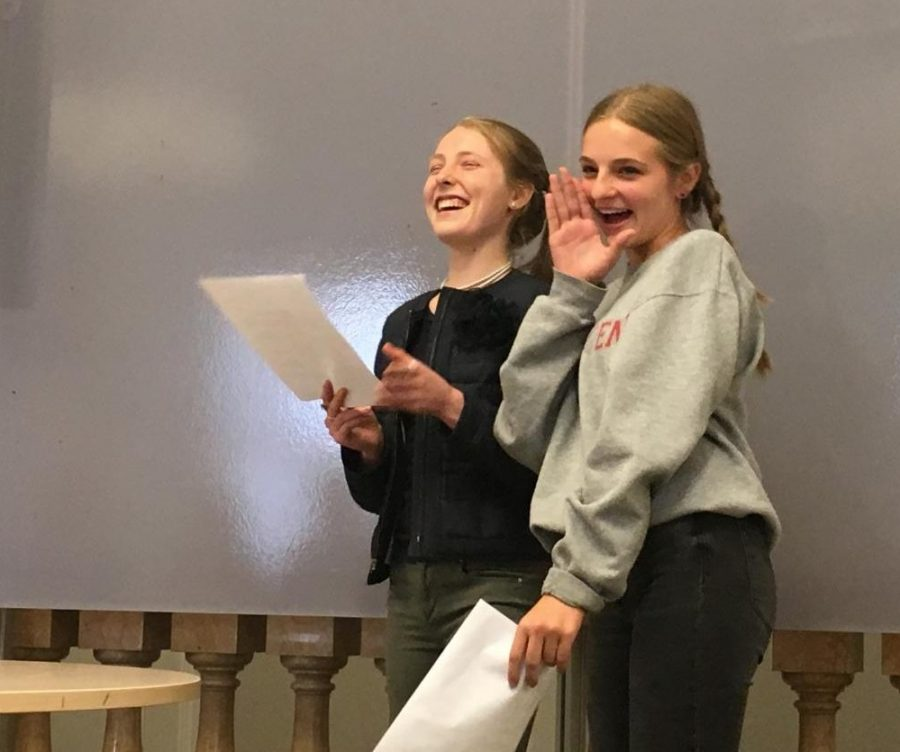 Juniors Maggie Walter and Worth Taylor deliver their joint speech for Senior Class Representatives. Student Council elections were held in the Chapel, followed by Class Representative speeches held separately by grade.