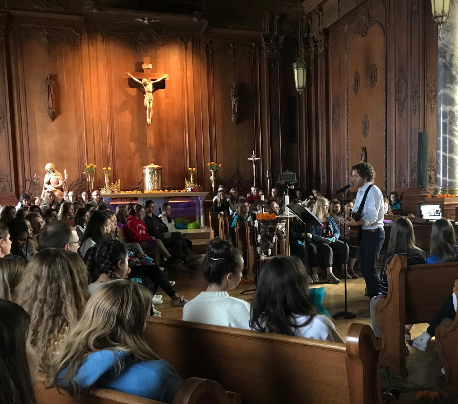 Students and faculty sing songs and share names of loved ones in honor of Día de los Muertos. The holiday is celebrated from Oct. 31 to Nov. 2.