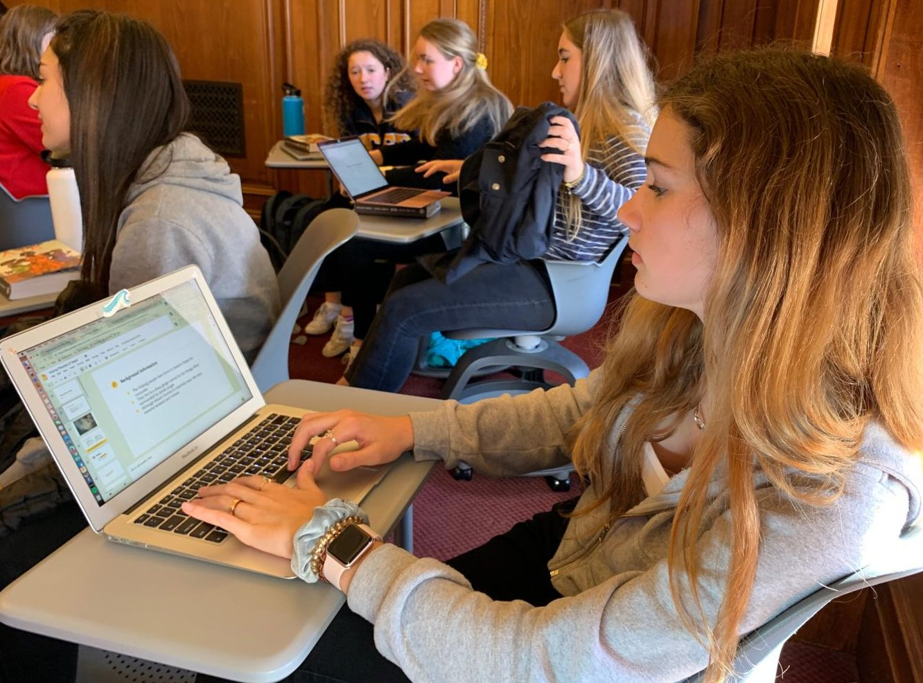 Freshman Livi Webb-Purkis works on her indigenous culture presentation in Google Slides. Webb-Purkis is doing her project on the Kulung culture of Nepal.