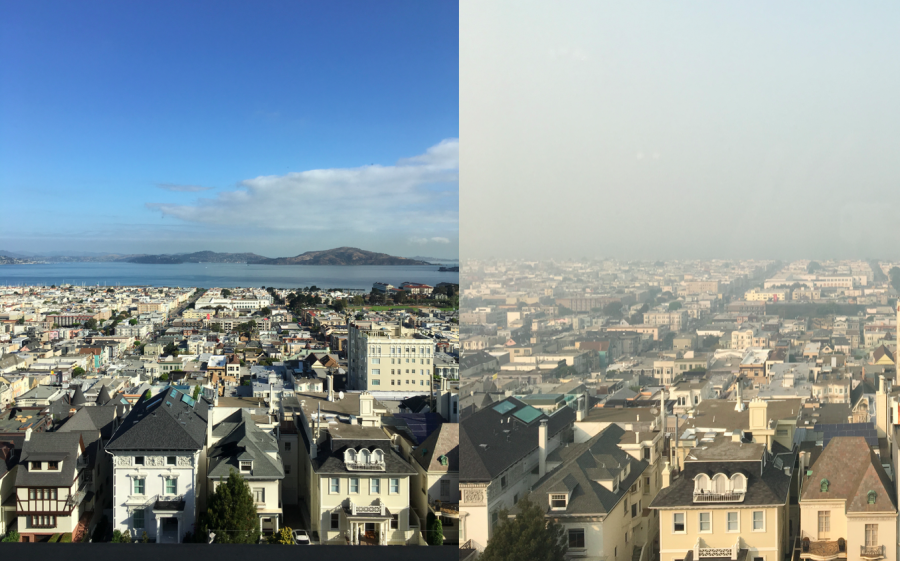Left, a view from the Flood Mansion on a clear day in the Bay Area. Right, the view from the Flood Mansion Thursday, when the air was