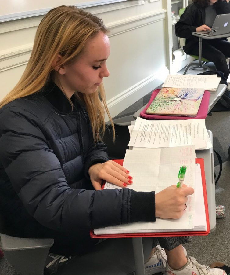 Sophomore Tabitha Parent brainstorms her study plan for finals week after watching a video on study tips. The video suggested students make a chart with each course and the topics needed for review.