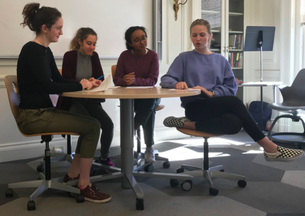 Sophomores Audrey Scott, Gabi Guido, Saron Asfaw, and Sadie Kahn present a skit about migrant caravans in character from the point of view of famous philosophers. The skits helped develop an understanding of both the students' chosen philosophers and current issues around them.