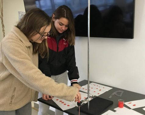 Seniors Rachel Cramer and Sophie Mack complete a blood spatter lab in physics. Students in all sciences completed labs relating to Forensics as part of an IB Science requirement.