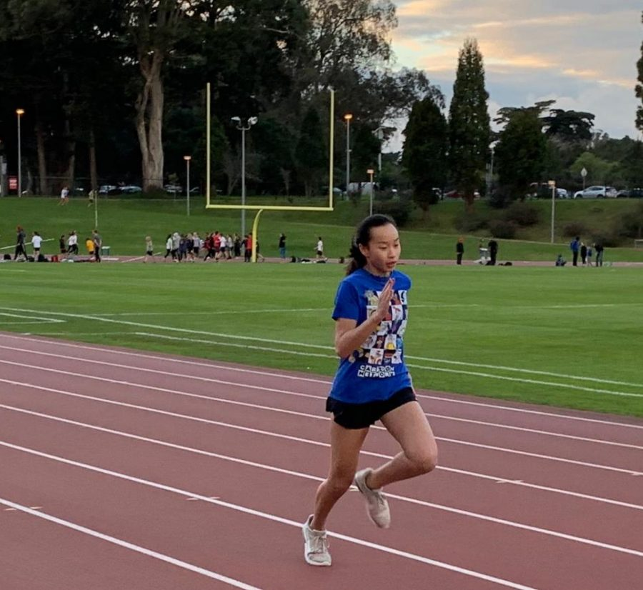 Freshman+Shana+Ong+runs+the+100-meter+dash+during+practice+in+preparation+for+the+track+and+field+team%E2%80%99s+first+meet+on+Friday.+Spring+sports+including+swimming%2C+badminton%2C+lacrosse%2C+and+track+and+field+are+all+scheduled+to+have+their+first+games+this+week.