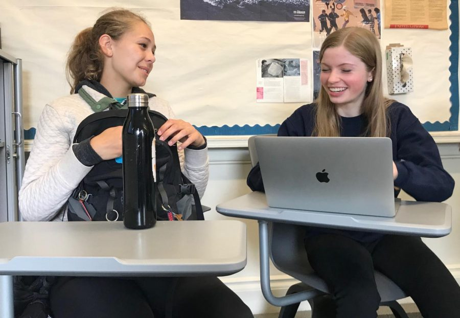Sophomores Harriet Ritchie and Olivia Callander research factory farming. This is the final section of their three part Industrial Revolution project in which they connect modern day issues to the past.