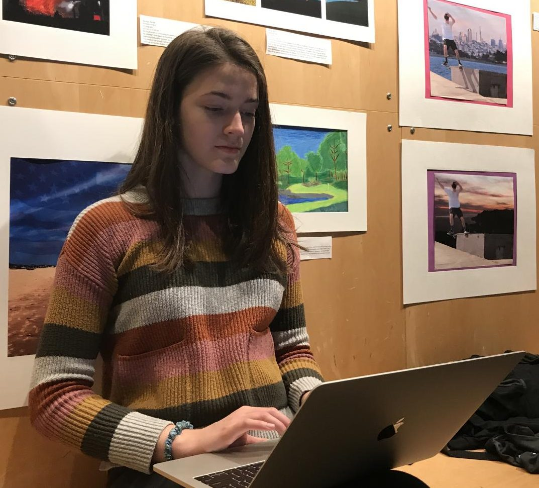 Sophomore Halsey Williamson proofreads her poem before submitting it to English teacher Angelica Allen for the annual poetry festival. All students are required to submit 1 to 2 poems before Friday, April 5th.