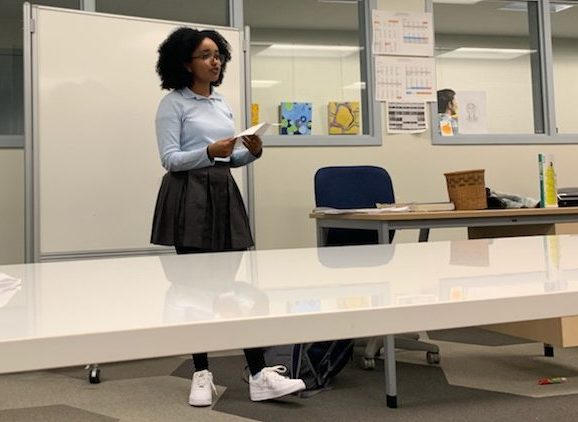 Sophomore Saron Asfaw delivers her speech for junior class representative for the next school year. Voting will take place on Monday.