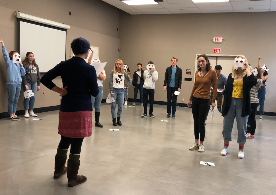 After watching plays put on by the Oregon Shakespeare Theater Company, students attended a workshop where they learned about the meaning and usage of maks in plays. They had the chance to work with actors from the company to create masks and practice using new acting techniques the actors introduced.