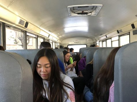 Convent and Stuart Hall students of all four grades ride the bus to their H period class. This was the first bus departing from the Broadway Campus at 1:33 after either late lunch or a G period class.
