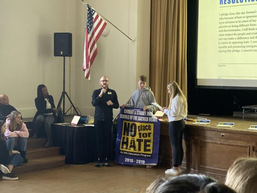 Chair of Community Life Paul Pryor Lorentz addresses the community in regards to the No Place for Hate movement. No Place for Hate is an organization that focuses on eliminating hate in schools and communities.