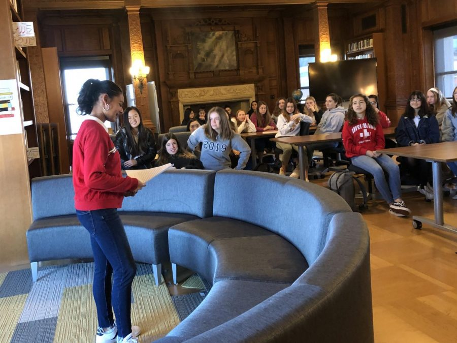 Freshman Anoushka Dadlani delivers her speech to the Freshmen class. All speeches were delivered during a class meeting in the Mother Williams Library.