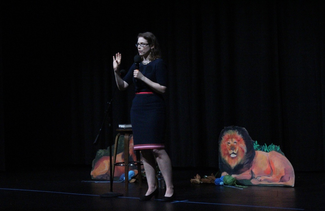 "Award-winning author Madeline Miller gives are presentation to the school about her book ""Circe"" in the Syufy Theatre. A senior English class and the book club read ""Circe"" in anticipation of the visit."