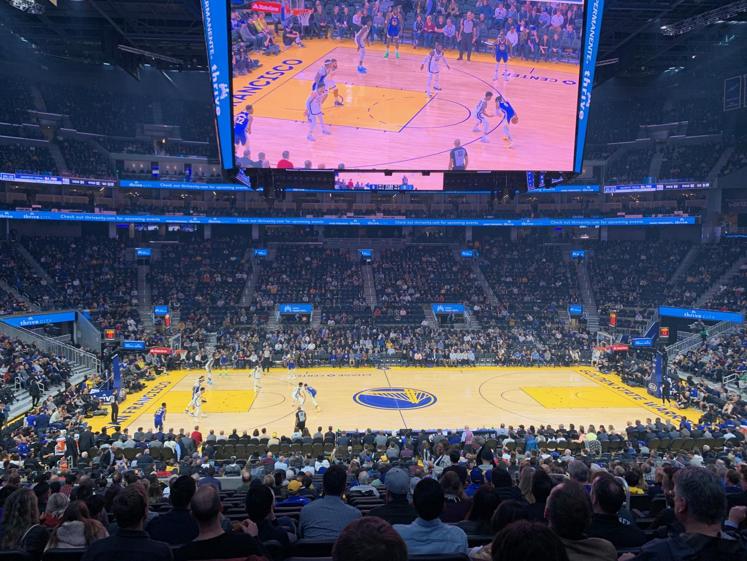 The Golden State Warriors play the Memphis Grizzlies at Chase Center on Dec. 9. The new arena in Mission Bay can seat over 18,000 people each game.