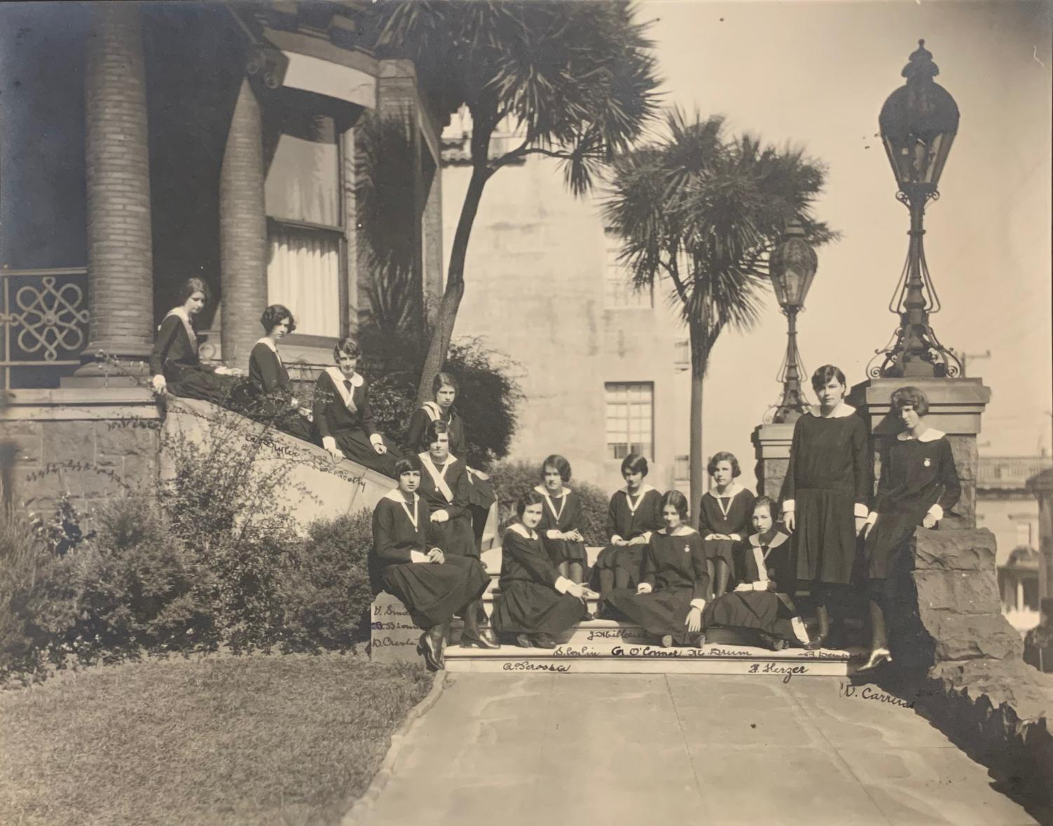 Students pose in front of the Jackson Street Campus situated on the corner of Jackson and Scott streets in the 1920s or 1930s. The Jackson Street school was the third campus adopted by the RSCJs.