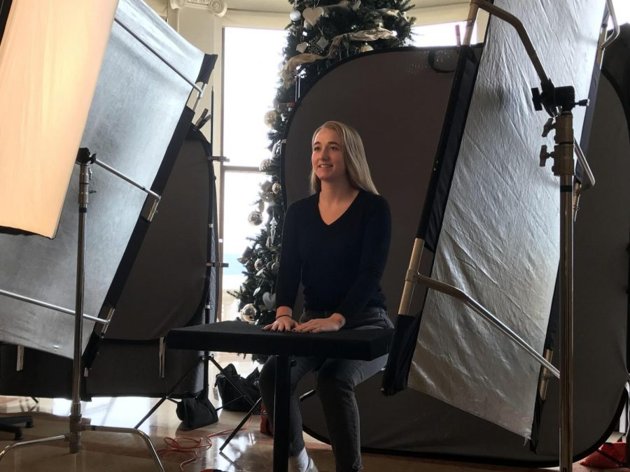Senior Caitie Rois Macken poses for her portrait. Photos were taken in the main hall on the Broadway campus for both Convent and Stuart Hall students.