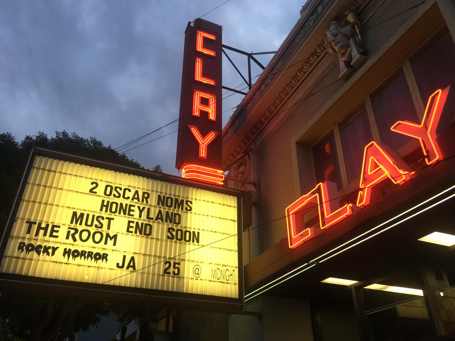 The Clay Theater displays its showings on its final week before its closing. The theater has celebrated more than 100 years as a San Franciscan cinema staple.