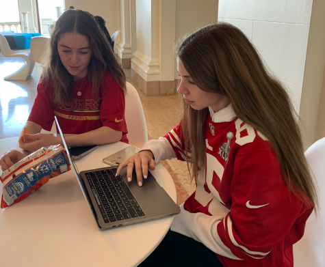 Freshmen Molly Darling and Lily Larson dressed up in 49ers gear for the school spirit day. The spirit day was in honor of the 49ers making it to the Super Bowl for the first time in 25 years.