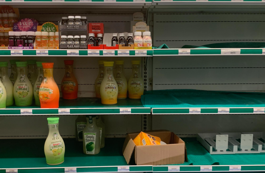 While items like pasta and bread are flying off the shelves of Bryan's market in Laurel Village, juice cartons and juice shots are much less popular. Shoppers are continuing to sweep assorted items off of grocery store shelves in response to the San Francisco Department of Public Health's mandated shelter in place.