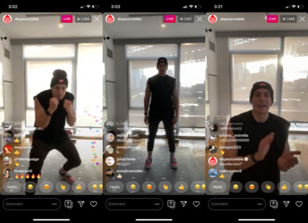 Three screenshots show a boxing-themed fitness instructor in various poses during a workout.