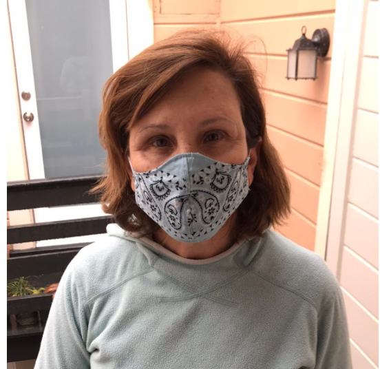 President Ann Marie Krejcarek wears one of the masks she made out of bandanas for hospitals and nursing homes in need of masks. Residents of San Francisco had until April 22 to acquire a mask before the city requires everyone to wear one in public.